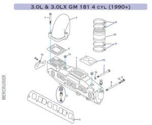 Coudes et Collecteurs Mercuiser GM181 3.0L