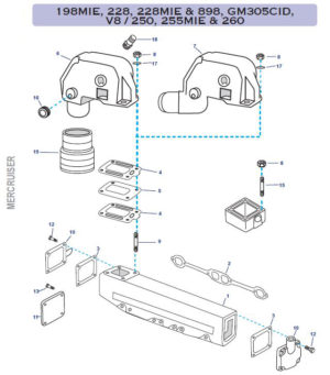 Coudes et collecteurs pour mercruiser GM305CID-V8